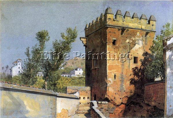 WILLIAM STANLEY HASELTINE VIEW FROM THE ALHAMBRA SPAIN ARTIST PAINTING HANDMADE