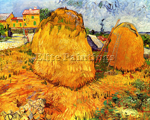 VAN GOGH HAYSTACKS IN PROVENCE2 ARTIST PAINTING REPRODUCTION HANDMADE OIL CANVAS