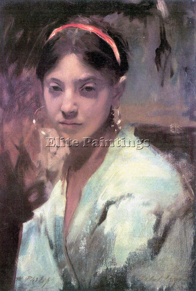 JOHN SINGER SARGENT HEAD OF A CAPRI GIRL ARTIST PAINTING REPRODUCTION HANDMADE