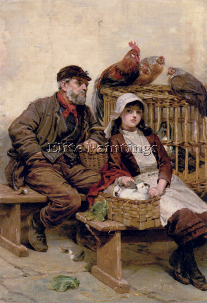 RALPH HEDLEY THE ANIMAL MARKET ARTIST PAINTING REPRODUCTION HANDMADE OIL CANVAS