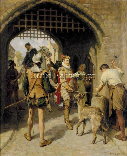 RALPH HEDLEY THE CITY GATE ARTIST PAINTING REPRODUCTION HANDMADE OIL CANVAS DECO
