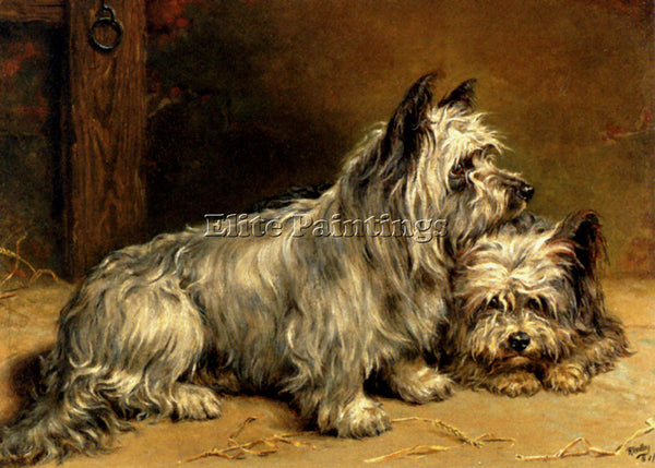 RALPH HEDLEY TWO TERRIERS ARTIST PAINTING REPRODUCTION HANDMADE OIL CANVAS REPRO