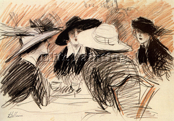 PAUL CESAR HELLEU  LADIES AT THE RITZ NEW YORK ARTIST PAINTING REPRODUCTION OIL
