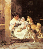 DENMARK HELSTED ALEX FEEDING THE BABY ARTIST PAINTING REPRODUCTION HANDMADE OIL