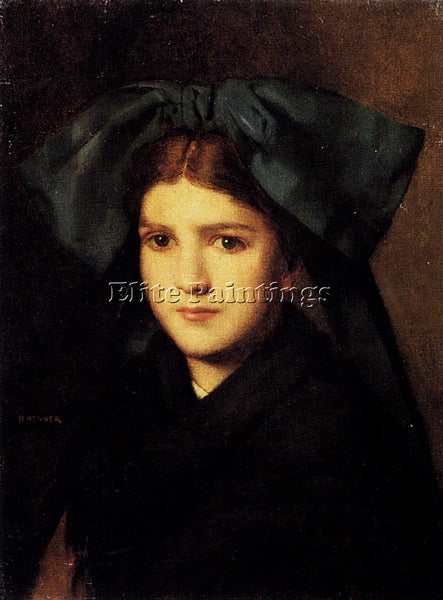 JEAN-JACQUES HENNER A PORTRAIT OF A YOUNG GIRL WITH A BOX IN HER HAT OIL CANVAS