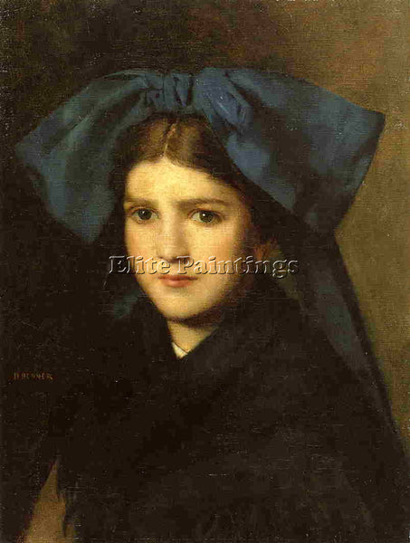 JEAN-JACQUES HENNER  PORTRAIT OF A YOUNG GIRL WITH A BOW IN HER HAIR OIL CANVAS