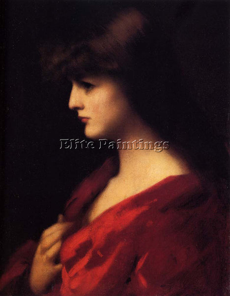 JEAN-JACQUES HENNER  STUDY OF A WOMAN IN RED ARTIST PAINTING HANDMADE OIL CANVAS