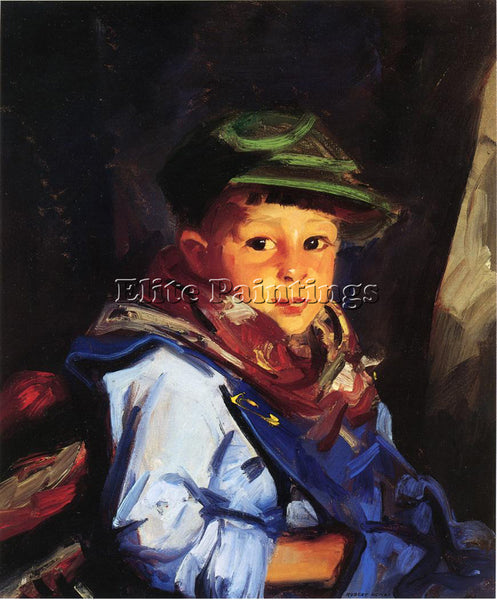 ROBERT HENRI BOY WITH A GREEN CAP AKA CHICO ARTIST PAINTING HANDMADE OIL CANVAS