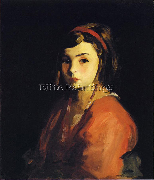 ROBERT HENRI LITTLE GIRL IN RED ARTIST PAINTING REPRODUCTION HANDMADE OIL CANVAS