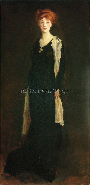 ROBERT HENRI O IN BLACK WITH SCARF AKA MARJORIE ORGAN HENRI ARTIST PAINTING OIL
