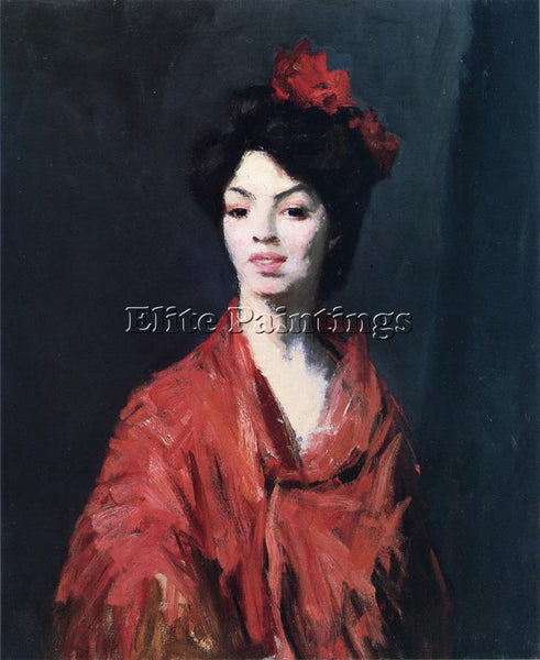 ROBERT HENRI SPANISH WOMAN IN A RED SHAWL ARTIST PAINTING REPRODUCTION HANDMADE