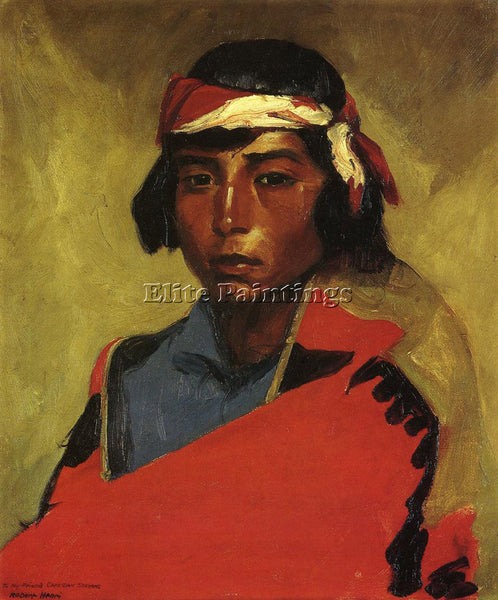 ROBERT HENRI YOUNG BUCK OF THE TESUQUE PUEBLO ARTIST PAINTING REPRODUCTION OIL