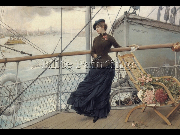 AMERICAN HENRY BACON A SCOTTISH LADY ON A BOAT ARRIVING IN NEW YORK PAINTING OIL