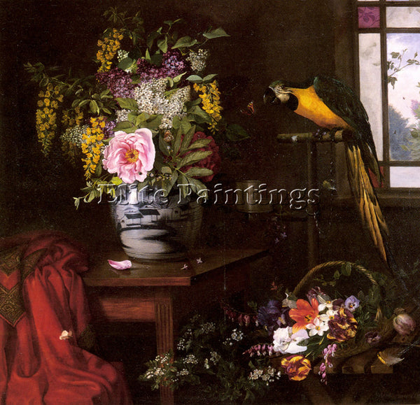 DENMARK HERMANSEN OLAF AUGUST A STILL LIFE WITH VASE BASKET AND PARROT PAINTING