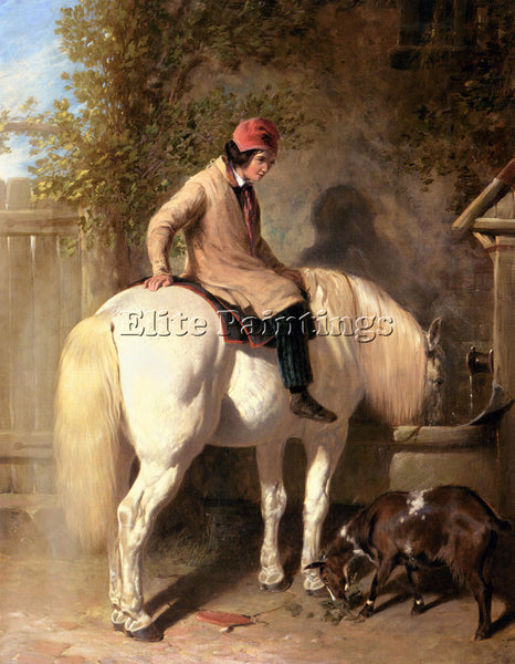 JOHN FREDERICK HERRING REFRESHMENT A BOY WATERING HIS GREY PONY ARTIST PAINTING