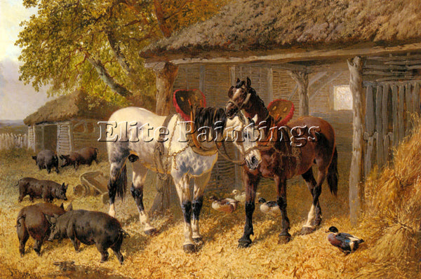 JOHN FREDERICK HERRING THE FARMYARD2 ARTIST PAINTING REPRODUCTION HANDMADE OIL