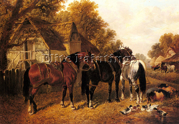 JOHN FREDERICK HERRING AN ENGLISH HOMESTEAD ARTIST PAINTING HANDMADE OIL CANVAS