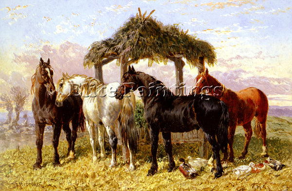 JOHN FREDERICK HERRING HORSES AND DUCKS BY A RIVER ARTIST PAINTING REPRODUCTION