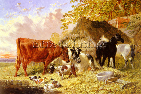 JOHN FREDERICK HERRING HORSES COWS DUCKS AND A GOAT BY A FARMHOUSE REPRODUCTION