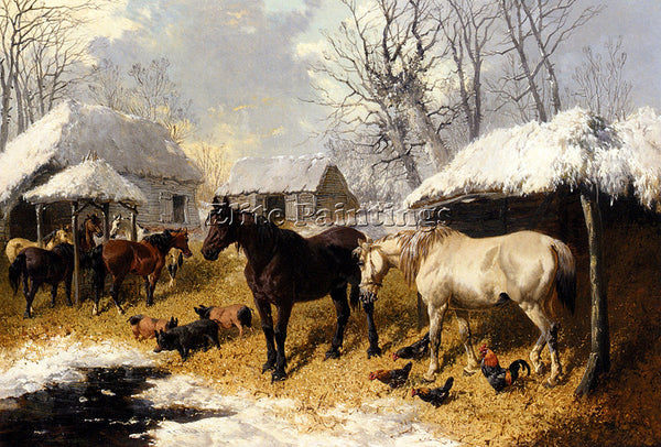 JOHN FREDERICK HERRING A FARMYARD SCENE IN WINTER ARTIST PAINTING REPRODUCTION