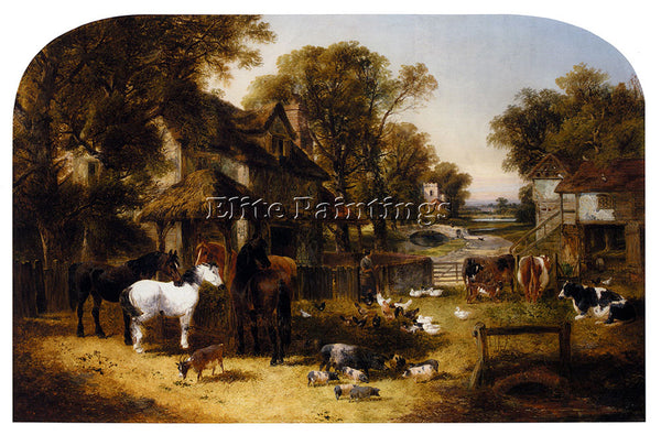 JOHN FREDERICK HERRING AN ENGLISH FARMYARD IDYLL ARTIST PAINTING HANDMADE CANVAS