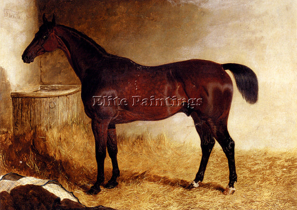 JOHN FREDERICK HERRING FLEXIBLE A CHESTNUT RACEHORSE IN A LOOSE BOX PAINTING OIL