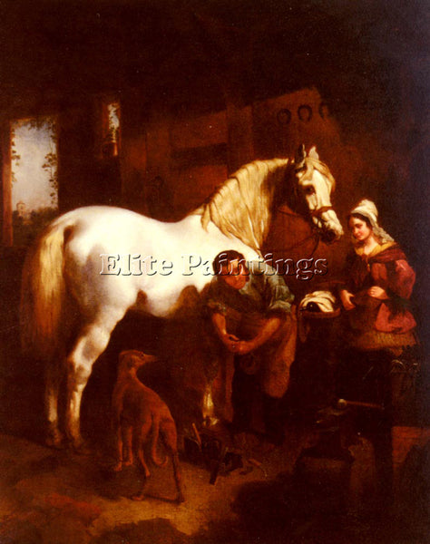 JOHN FREDERICK HERRING THE VILLAGE BLACKSMITH ARTIST PAINTING REPRODUCTION OIL