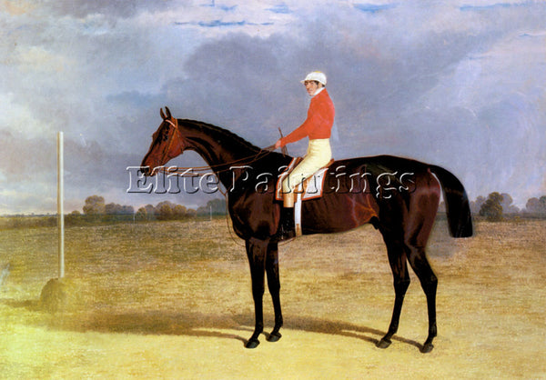 JOHN FREDERICK HERRING  A DARK BAY RACEHORSE WITH PATRICK CONNOLLY UP ARTIST OIL