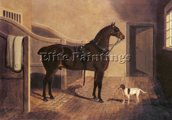 JOHN FREDERICK HERRING  A FAVORITE COACH HORSE AND DOG IN A STABLE REPRODUCTION