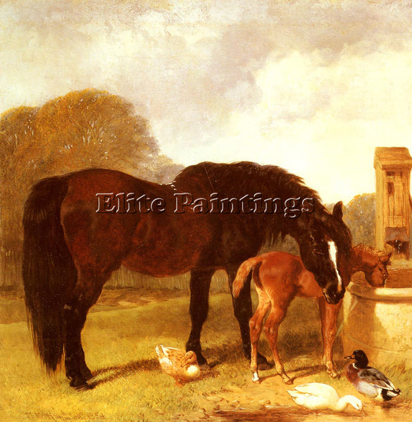 JOHN FREDERICK HERRING  HORSE AND FOAL WATERING AT A TROUGH ARTIST PAINTING OIL