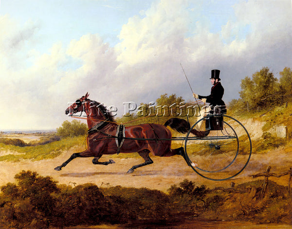 JOHN FREDERICK HERRING  THE FAMOUS TROTTER CONFIDENCE DRAWING A GIG PAINTING OIL