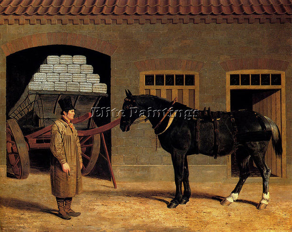 JOHN FREDERICK HERRING A CART HORSE AND DRIVER OUTSIDE A STABLE ARTIST PAINTING
