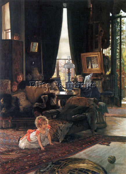 TISSOT HIDE AND SEEK ARTIST PAINTING REPRODUCTION HANDMADE OIL CANVAS REPRO WALL