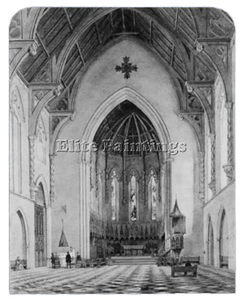 JOHN WILLIAM HILL CHANCEL OF TRINITY CHAPEL NEW YORK ARTIST PAINTING HANDMADE