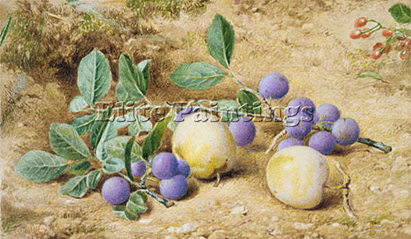 JOHN WILLIAM HILL PLUMS ARTIST PAINTING REPRODUCTION HANDMADE CANVAS REPRO WALL