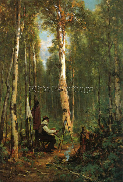 THOMAS HILL ARTIST AT HIS EASEL IN THE WOODS ARTIST PAINTING HANDMADE OIL CANVAS