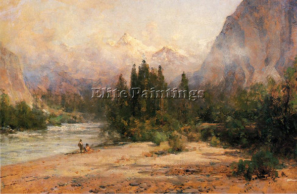 THOMAS HILL BOW RIVER GAP AT BANFF ON CANADIAN PACIFIC RAILROAD ARTIST PAINTING