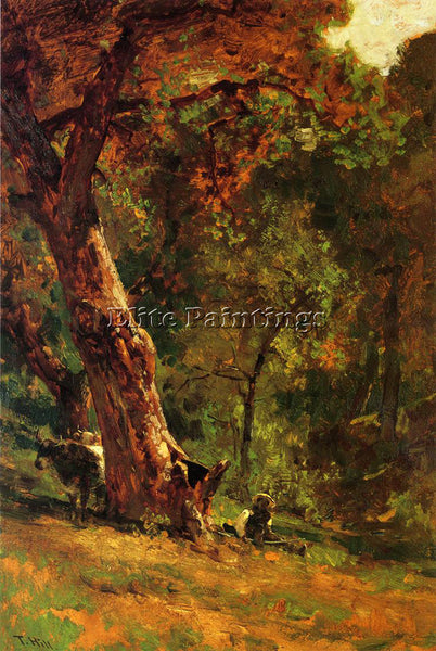 THOMAS HILL CHINESE MAN TENDING CATTLE ARTIST PAINTING REPRODUCTION HANDMADE OIL