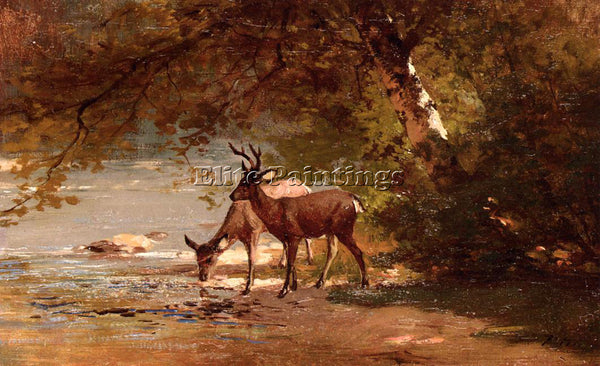 THOMAS HILL DEER IN A LANDSCAPE ARTIST PAINTING REPRODUCTION HANDMADE OIL CANVAS
