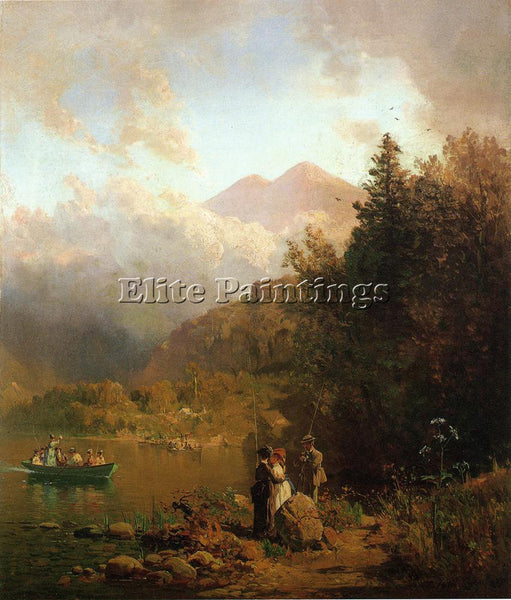 THOMAS HILL FISHING PARTY IN THE MOUNTAINS ARTIST PAINTING REPRODUCTION HANDMADE