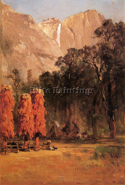 THOMAS HILL INDIAN CAMP YOSEMITE ARTIST PAINTING REPRODUCTION HANDMADE OIL REPRO