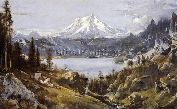 THOMAS HILL MOUNT SHASTA FROM CASTLE LAKE ARTIST PAINTING REPRODUCTION HANDMADE