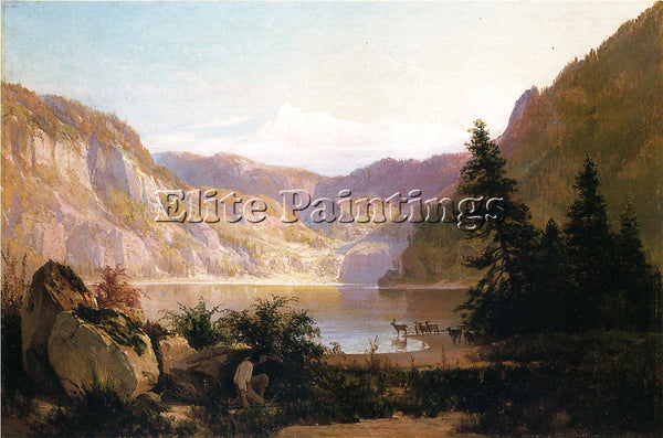 THOMAS HILL MOUNTAIN LAKE ARTIST PAINTING REPRODUCTION HANDMADE OIL CANVAS REPRO