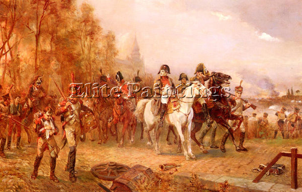 ROBERT HILLINGFORD NAPOLEON WITH HIS TROOPS AT BATTLE OF BORODINO 1812 PAINTING