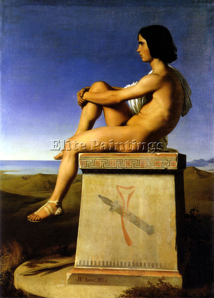 JEAN HIPPOLYTE FLANDRIN POLITES SONOF PRIAM OBSERVES MOVEMENTS GREEKS ARTIST OIL