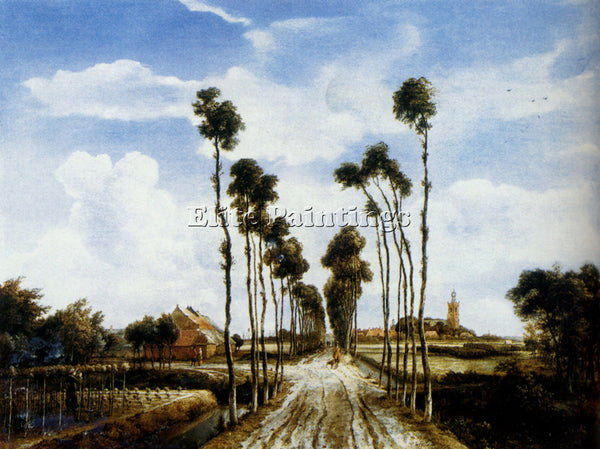 MEINDERT HOBBEMA  THE ROAD TO MIDDELHARNIS ARTIST PAINTING REPRODUCTION HANDMADE