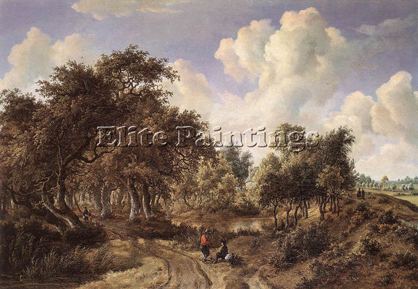 MEINDERT HOBBEMA A WOODED LANDSCAPE 1660 5 ARTIST PAINTING REPRODUCTION HANDMADE