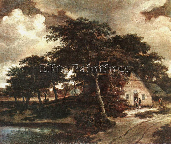 MEINDERT HOBBEMA LANDSCAPE WITH A HUT ARTIST PAINTING REPRODUCTION HANDMADE OIL