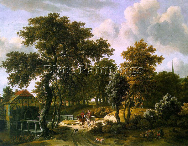 MEINDERT HOBBEMA THE TRAVELERS ARTIST PAINTING REPRODUCTION HANDMADE OIL CANVAS