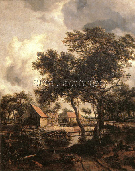 MEINDERT HOBBEMA THE WATER MILL 1660S ARTIST PAINTING REPRODUCTION HANDMADE OIL